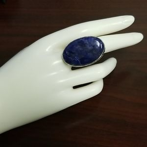 VINTAGE Dumortierite Oval statement ring size 6.5
